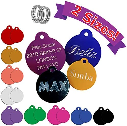 Personalised DEEP Engraved Pet Dog Puppy Cat Name ID Supplies Tag Accessories (32mm Large, Hot Pink)