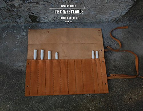 Personal Leather Bag Chef Knives Chef Knife Roll Leather Genuine Leather Tanning Natural Full Grain Restaurant The Westlands Knives Case Handmade Made in Italy