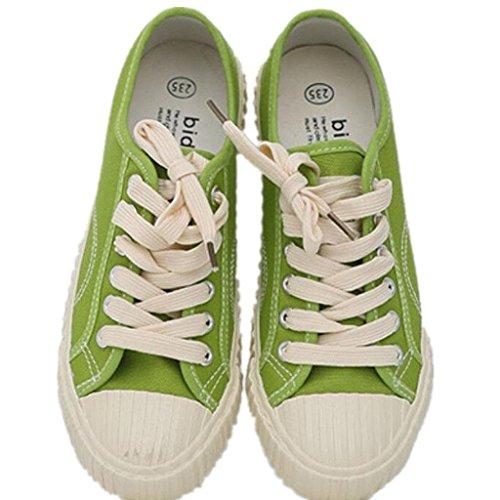 SHFANG Zapatos De La Señora Clásico De Verano Zapatos De Lino Movimiento Ocio Cómodo Estudiantes Escuela De Compras Tres Colores Green