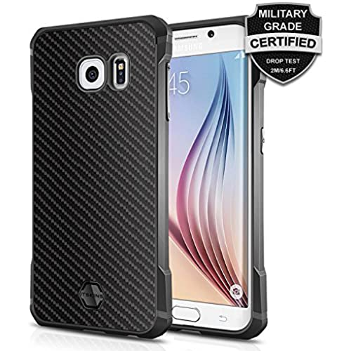 Galaxy S7 Edge Case, ItSkins Atom [Real Kevlar] Carbon Fiber [Black Protective Case] Shock Absorbing TPU Jacket and Kevlar Back Panel [Military Grade Tested] Scratch Sales