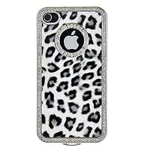 Conseguir Bling de lujo Leopard Imprimir Marco estuche rígido con la parte posterior del cromo para el iPhone 4/4S