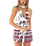 2018 New Women Jumpsuit, Fullfun Sexy Sleeveless Rompers Playsuit Summer Printing Jumpsuit (S)