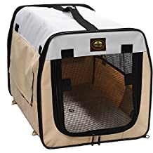 Pet Life Wire-Framed Lightweight Folding Collapsible Travel Pet Dog Crate, Khaki, Extra Large