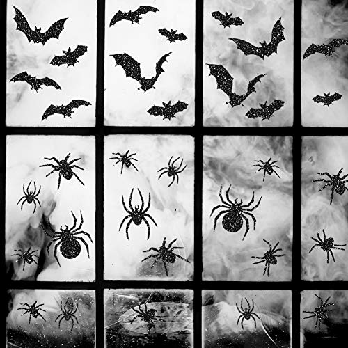 Uimiqc Glitter Halloween Window Clings 90 pcs Reusable Static Sparkly Window Clings Halloween Home Party Decorations Include Spiders Bats Multi-Size (90 pcs)