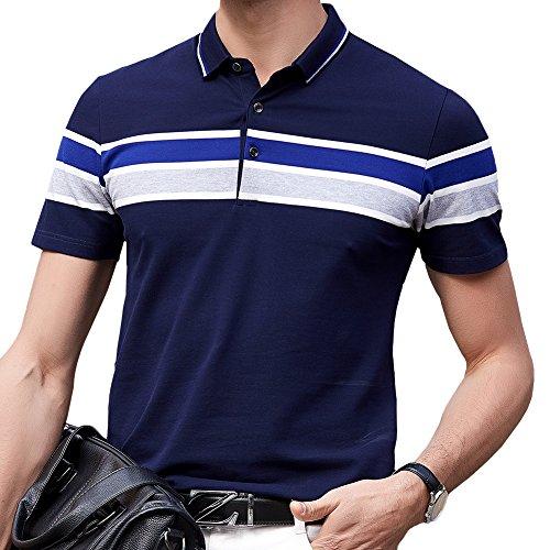 ポロシャツ メンズ ゴルフウェア 半袖 コットン 通気性良い 刺繍 ストレッチ 二重衿 軽量 通気性良い