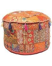 "GANESHAM Indian Hippie Vintage Katoen Vloerkussen & Kussen Patchwork Bean Bag Stoel Cover Boho Bohemian Hand Geborduurd Handgemaakte Poef Ottomaanse (Oranje, 13"" H x 18"" Diam. (inch))"