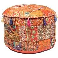 GANESHAM Indian Home Decor Hippie Patchwork Bean Bag Boho Boheemse hand geborduurd etnische handgemaakte poef Ottomaanse…