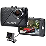Dash Cam,Bekhic Dash Camera for Cars with Full HD 1080P Front and 720P Rear 290 Degree Super Wide Angle Dual Cameras, 30 TFT Display,Reverse Image,G-Sensor, Night Vision, WDR, Parking Guard etc