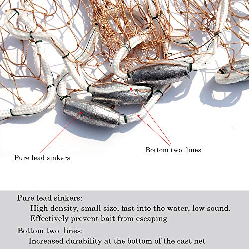 Drasry Saltwater Fishing Cast Net for Bait Trap Fish Throw Net Size 4ft/5ft/6ft/7ft/8ft/9ft Radius Freshwater Nets with Heavy Lead Sinkers (Tire Thread Cast Net(0.59 inch Mesh), 5 Feet)