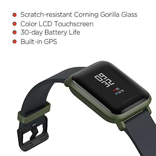 Amazfit Bip Smartwatch by Huami with All-day Heart Rate and Activity Tracking, Sleep Monitoring, GPS, Ultra-Long Battery Life, Bluetooth, US Service and Warranty (A1608 Green) by Amazfit (Image #2)