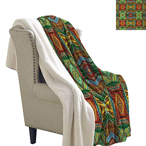 African Lightweight Blanket Collage of Ethnic Native Motifs Ancient Art Traditional Old Fashioned Cultural for Bed/Couch/Chair in Livingroom or Bedroom 60x78 Inch Multicolor