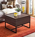 Black Lacquer Coffee Table Safavieh FOX2240A Home Collection Keelin Black Mid Century Scandinavian Lacquer Coffee Table, Dark Oak