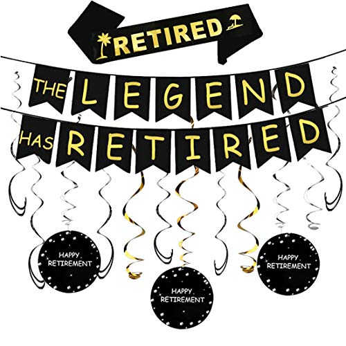 Happy Retirement Party Decorations Kit - The Legend Has Retired Banner & Happy Retirement Hanging Swirls &