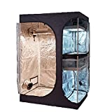"""TopoGrow 2-in-1 Indoor Grow Tent 48""""x36""""x72"""" 600D High-Reflective W/2-Tiered for Lodge Propagation"""