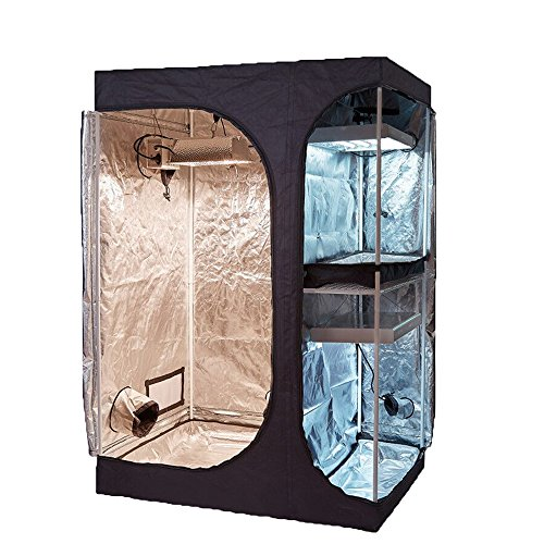 TopoGrow 2-in-1 Indoor Grow Tent 48'x36'x72' 600D High-Reflective W/2-Tiered for Lodge Propagation and Flower Plant Growing