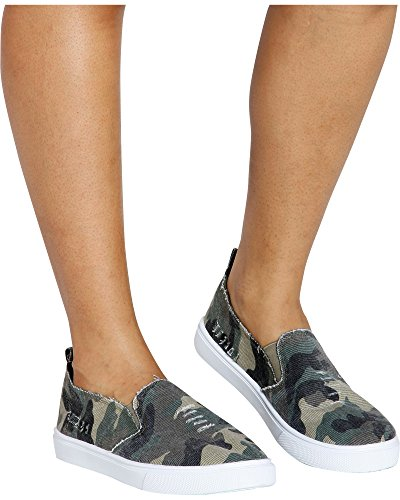 Love University Women's Hide & Seek Twin Gore Slip On Camouflage Fashion Sneaker - Camo,Camo,7 by Love University (Image #4)