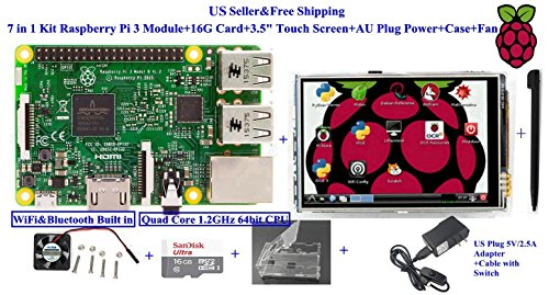 7 in 1 Kit Raspberry Pi 3 Module+16G Card+3.5'' Touch Screen+US Plug Power+Case by Generic