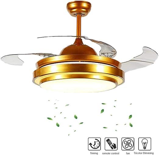 Lámpara de ventilador de techo retráctil invisible con 4 cuchillas ...