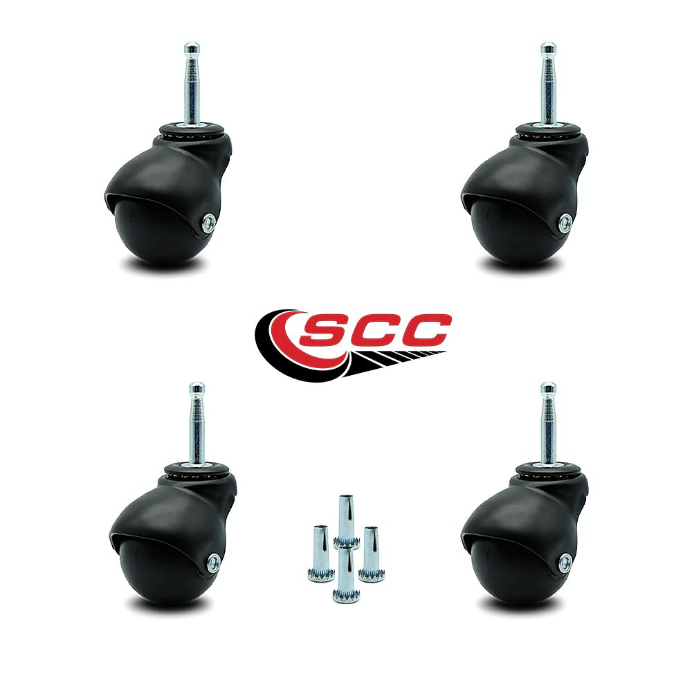 Service Caster Flat Black Hooded 2 Inch Swivel Ball Casters with 5/16 Grip Neck Stem -300 lbs. Total Capacity - Sockets Included - Set of 4