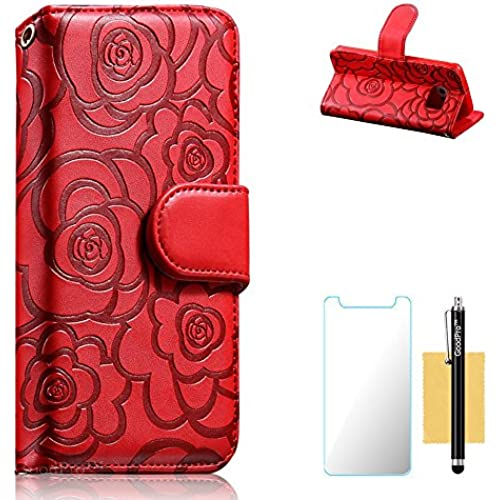 GoodPro Galaxy S7 Case, S7 Case, Rose Design Stand Card Holders Function PU Leather Wallet Case For Samsung Galaxy Sales