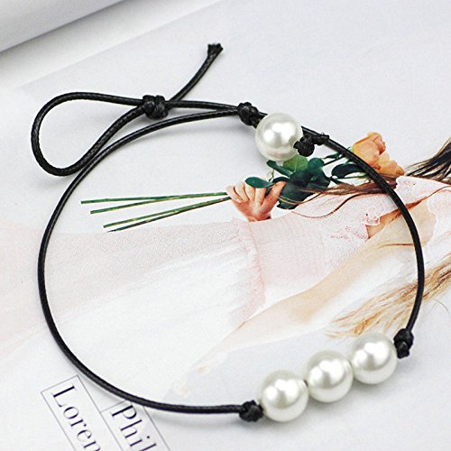 Fashion Women Single Pearl Leather Choker Necklace Pendant Black Leather Cord