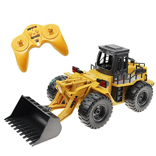 Donsinn RC Bulldozer Truck, 1:18 4WD Full Function Construction Toy Engineering Machine Model, 6 Channel 2.4GHz Alloy Remote Control Truck w/Sound & Light
