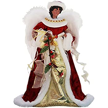 14 inch standing red floral african american black angel christmas tree topper or table top - Angel Christmas Tree