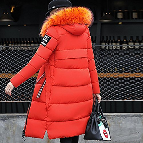 Patchwork Coat Fur Collar CHshe Solid Pocket Thcik Blend Orange Slim Color Jacket Down Cotton Hooded Women Zipper Winter Outwear PXq7xwq5