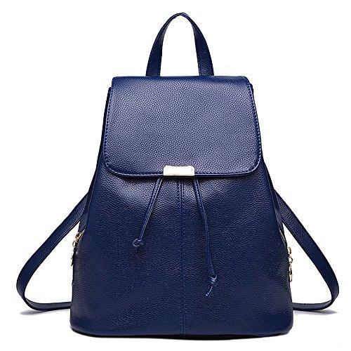 (JVP1042-P) Las mujeres mochila de cuero de LA PU bolsa de gran capacidad de viaje de regreso las mujeres 3way espalda hombro bolso de mano simple de moda popular luz de la escuela suburbana Azul Marino