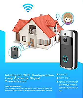 Wifi Video Doorbell With Chime for home security, 16GB Memory Wireless Video door camera Real Time Live View With two way Audio