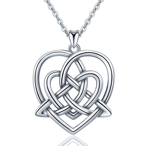 INFUSEU Irish Celtic Knot Pendant Necklace 925 Sterling Silver Jewelry for Women (Double Heart Trinity)