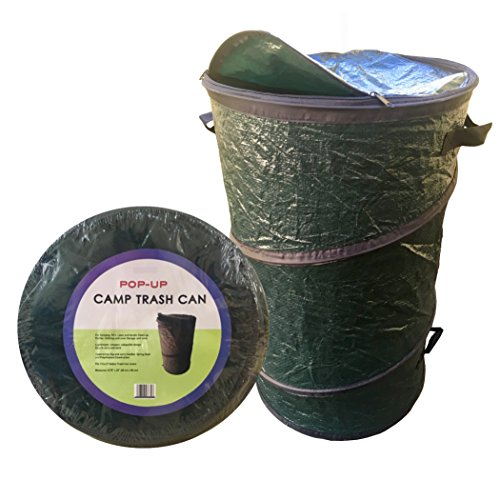 Oswego Pop-Up Collapsible Travel Camping Trash Garbage Can (Dark Green, 20 Gallon)