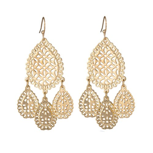 SunIfSnow Women Golden Hollow Geometric One Big Waterdrop Hang Three Small Drop Chandelier Earrings