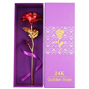 YINASI 24K Gold Plated Rose, Gold Foil Decoration Artificial Red Rose Flowers in Gift Box, Gifts for Mother's Day, Valentine's Day, Wedding Day, Birthday,Home Decor 3