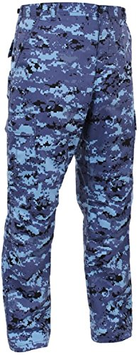 Bellawjace Clothing Sky Blue Digital Camouflage Military BDU Cargo Bottoms Fatigue Pants