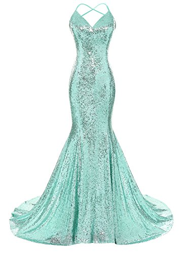 (DYS Women's Sequins Mermaid Prom Dress Spaghetti Straps V Neck Backless Gowns Mint US 12)