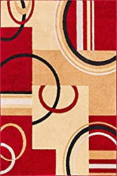 Wheelhouse Modern Abstract Geometric Contemporary Multi Red Beige Ivory Brown Green 3-piece Living Dining Room Entryway Bathroom Kitchen Ultra Value Area Rug Set 5x7 and Bonus 2x3 Mats