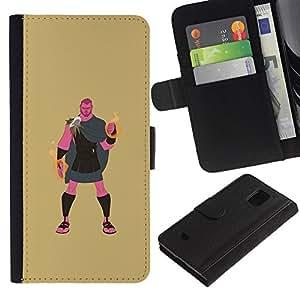 Be-Star la tarjeta de Crédito Slots PU Funda de cuero Monedero caso cubierta de piel Para Samsung Galaxy S5 Mini (Not S5), SM-G800 ( Greek Hero Hercules Demigod Mystical )