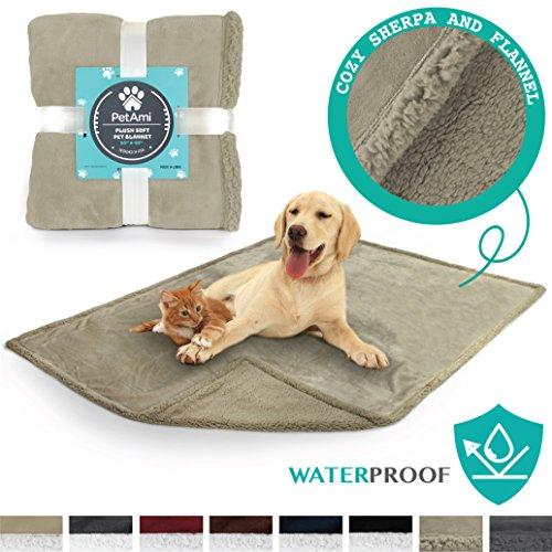 PetAmi Premium Waterproof Soft Sherpa Pet Blanket by Cozy, C