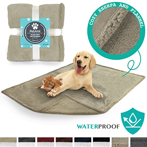 - PetAmi Premium Waterproof Soft Sherpa Pet Blanket by Cozy, Comfortable, Plush, Lightweight Microfiber, 100% WATERPROOF (50