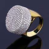 TOPGRILLZ Hip Hop 14K Gold Plated Fully Iced out CZ Zircon Cluster Simulated Diamond Bling Mens Pinky Ring