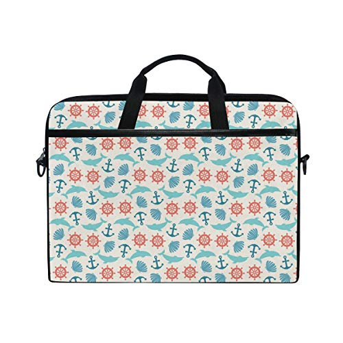 Dolphin Briefcase - 15-Inch Laptop Bag Anchor Wheel Dolphin Seashell Canvas Shoulder Messenger Sleeve Case Tablet Briefcase