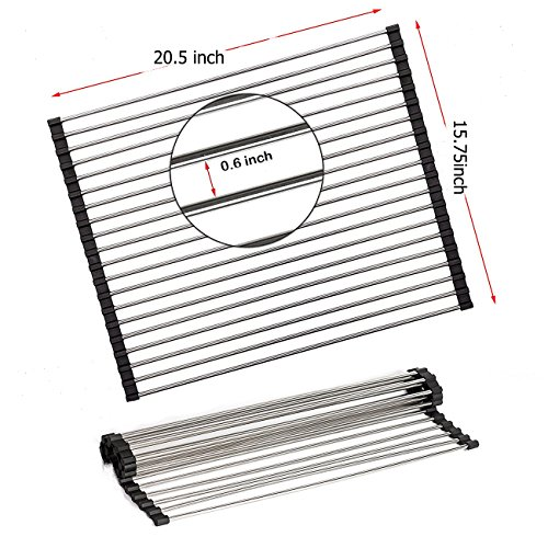 """Roll up Dish Drying Rack 20.5"""" x 15.75"""" Dish Rack over the S"""