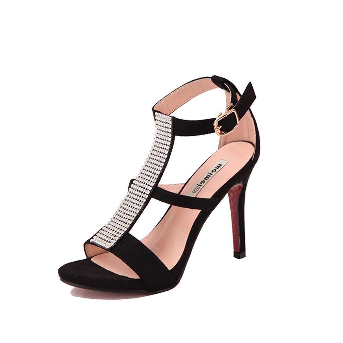KOKQSX-Sandalias de Verano Sexy Diamante Tacon Fino Zapatos de Tacon Alto  9cm Banquete.  Amazon.es  Deportes y aire libre 451d70483074