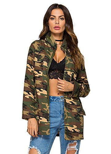 - Escalier Women`s Military Camo Jacket Zipper Causal Camoflage Utility Coat Camo S
