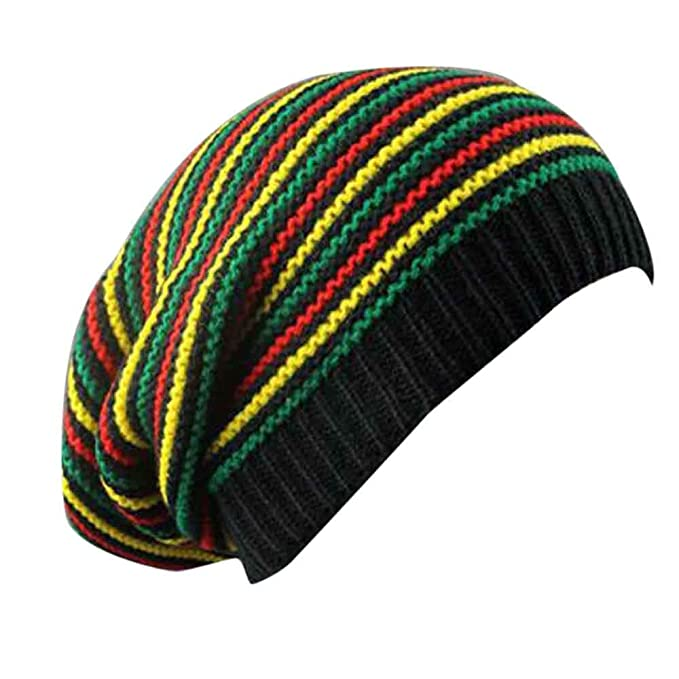 a26fbe08694 Women Men Soft Rainbow Striped Slouchy Cap Beanie Winter Warm Knit Skull Hip -Hop Hat Unisex  Amazon.co.uk  Clothing