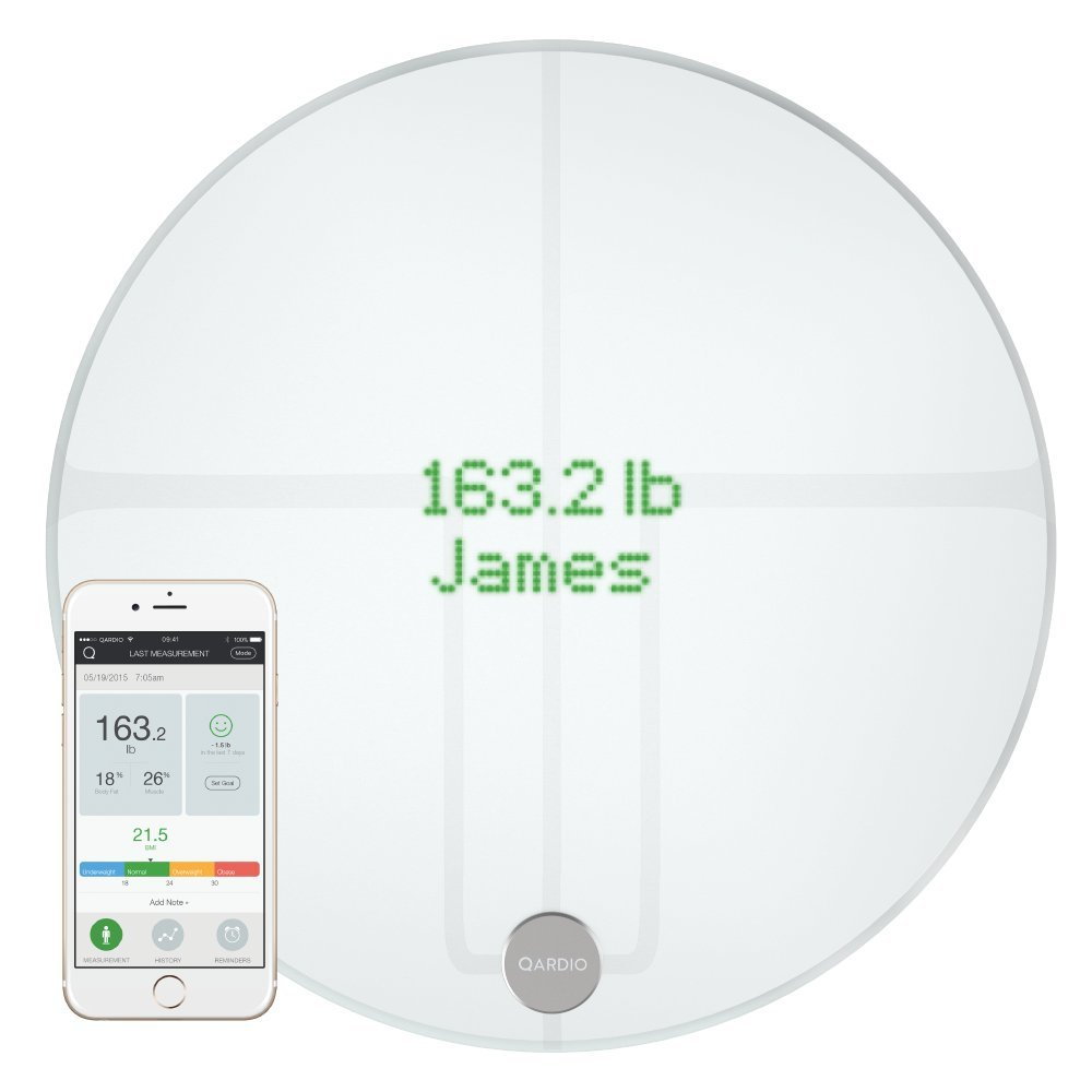 QardioBase2 WiFi Smart Scale and Body Analyzer: monitor weight, BMI and body composition, easily store, track and share data. Free app for iOS, Android, Kindle. Works with Apple Health. by Qardio