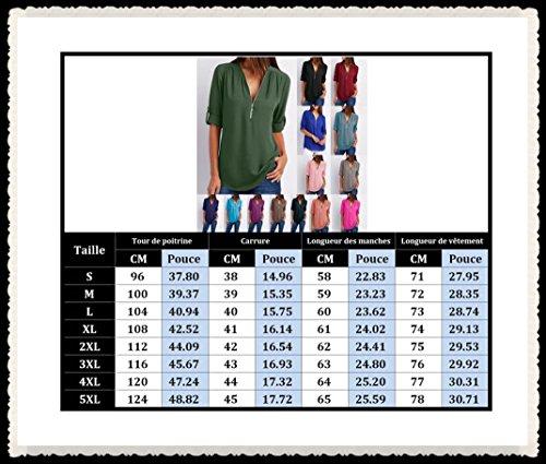 Zipp Tunique Tee Classique Longues Top Mode Femme Shirt YOSICIL Blouse Verte Top Col Chiffon OL Chic Mousseline Arme Chemisier Bureau Hauts Chemise V Manches 4684vXqw
