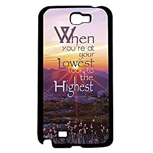 """""""When You're At Your Lowest Look to the Highest"""" Beautiful Quote with Pink Sunset Background, Purple Meadows, and Wild Flowers. Hard Sanp on Phone Case (Note 2 II)"""
