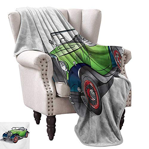 Anyangeight Throw Blanket,Hand Drawn Convertible Vintage Green Car with Colorful Rims Retro Vehicle Design Print 60